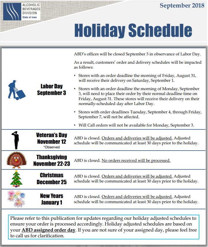 state of iowa alcoholic beverages division 2018 Holiday Message.