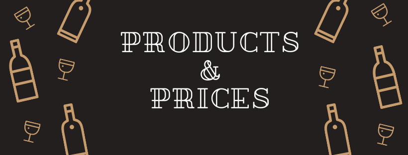 Decorative banner with bottles that says products and prices.
