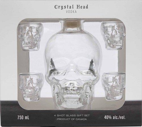 Crystal Head Vodka w/4 Skull Glasses