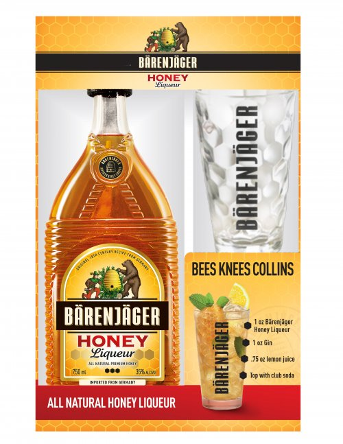 Barenjager Honey w/Collins Cocktail Glass