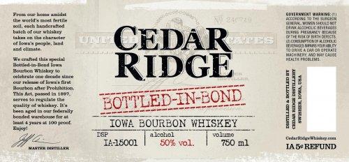 Cedar Ridge Bottled in Bond Bourbon