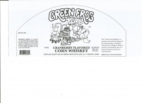 Green Frog Distillery Cranberry Flavored Corn Whiskey