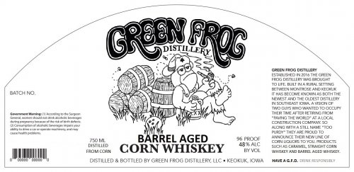 Green Frog Distillery Barreled Aged Corn Whiskey