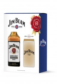 Jim Beam w/Cubs Beer Can Glass